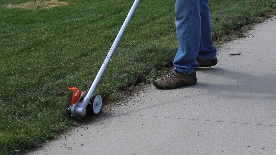 Edging a lawn with a Lawn Edger