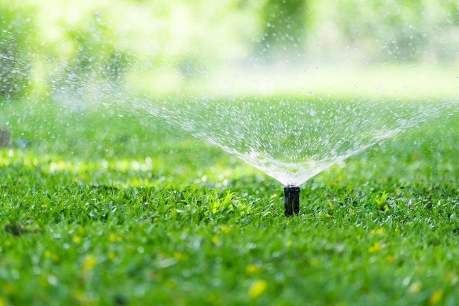 Sprinkler System Watering Lawn